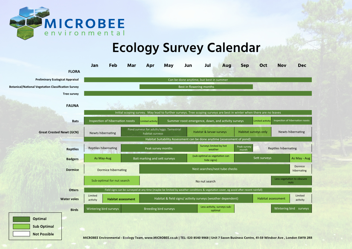 Microbee Ecology Survey calendar